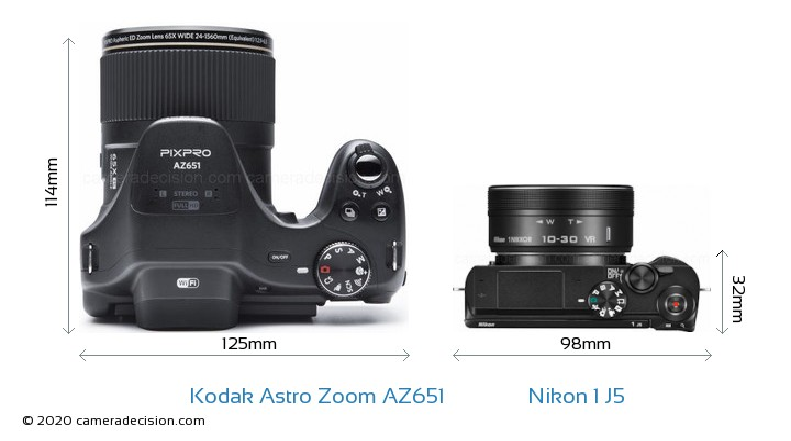 Kodak Astro Zoom AZ651 vs Nikon 1 J5 Camera Size Comparison - Top View