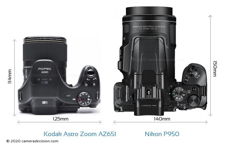 Kodak Astro Zoom AZ651 vs Nikon P950 Camera Size Comparison - Top View