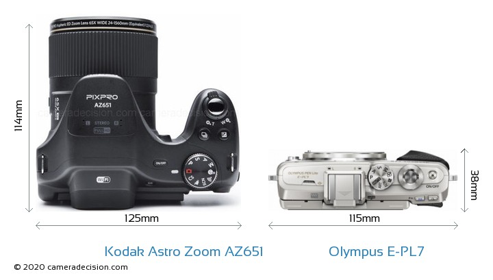 Kodak Astro Zoom AZ651 vs Olympus E-PL7 Camera Size Comparison - Top View