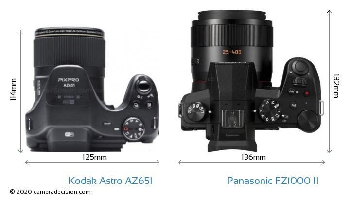 Kodak Astro Zoom AZ651 vs Panasonic FZ1000 II Camera Size Comparison - Top View