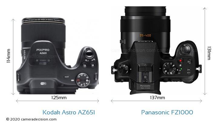 Kodak Astro Zoom AZ651 vs Panasonic FZ1000 Camera Size Comparison - Top View