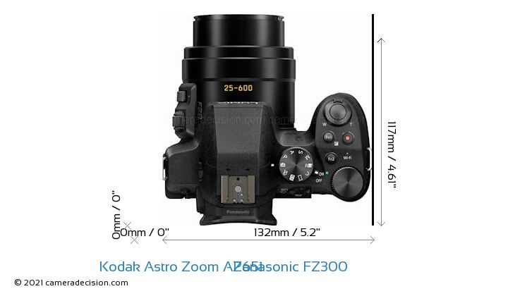 Kodak Astro Zoom AZ651 vs Panasonic FZ300 Camera Size Comparison - Top View
