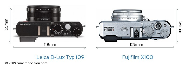 Leica D-Lux Typ 109 vs Fujifilm X100 Camera Size Comparison - Top View