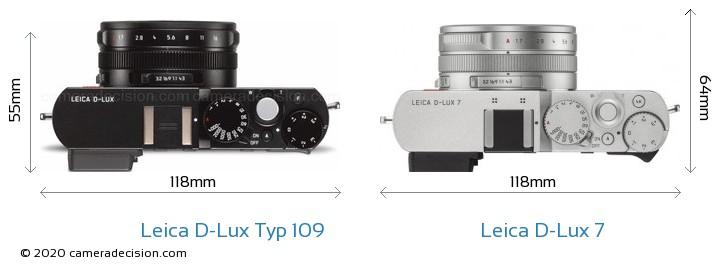 Leica D-Lux Typ 109 vs Leica D-Lux 7 Camera Size Comparison - Top View
