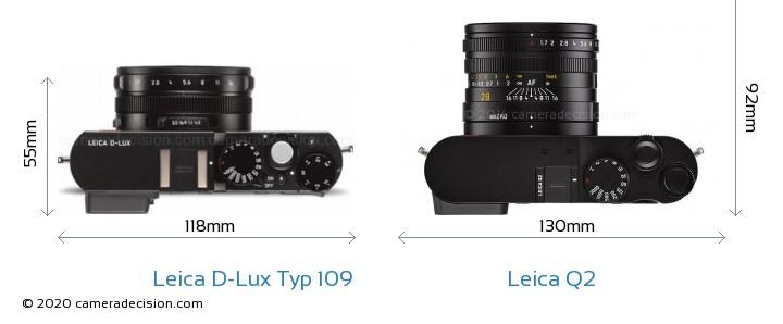 Leica D-Lux Typ 109 vs Leica Q2 Camera Size Comparison - Top View