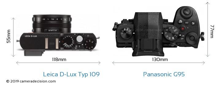 Leica D-Lux Typ 109 vs Panasonic G95 Camera Size Comparison - Top View