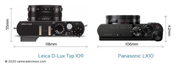 Leica D-Lux Typ 109 vs Panasonic LX10 Camera Size Comparison - Top View