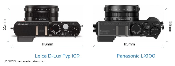 Leica D-Lux Typ 109 vs Panasonic LX100 Camera Size Comparison - Top View