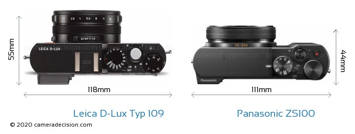 Leica D-Lux Typ 109 vs Panasonic ZS100 Camera Size Comparison - Top View