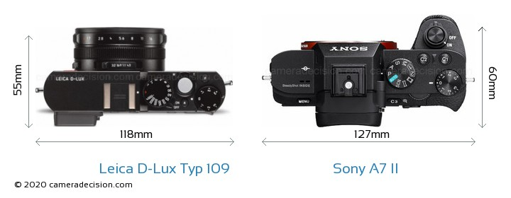 Leica D-Lux Typ 109 vs Sony A7 II Camera Size Comparison - Top View