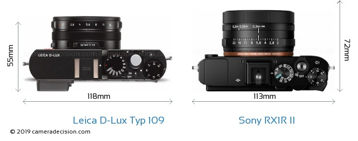 Leica D-Lux Typ 109 vs Sony RX1R II Camera Size Comparison - Top View