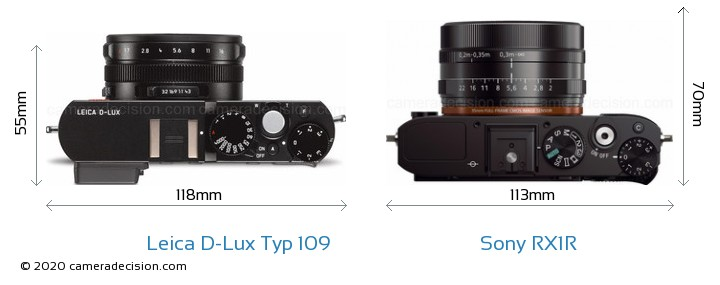 Leica D-Lux Typ 109 vs Sony RX1R Camera Size Comparison - Top View