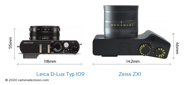 Leica D-Lux Typ 109 vs Zeiss ZX1 Camera Size Comparison - Top View