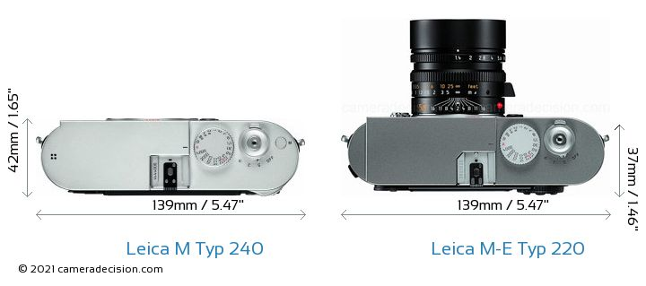 Leica M Typ 240 vs Leica M-E Typ 220 Camera Size Comparison - Top View