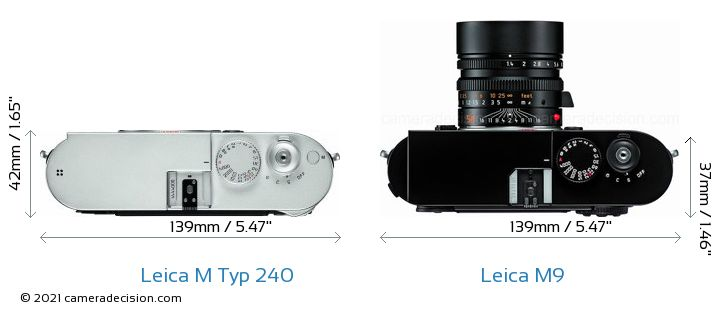 Leica M Typ 240 vs Leica M9 Camera Size Comparison - Top View
