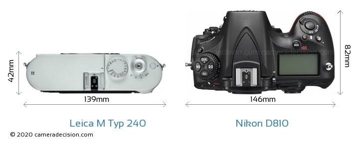 Leica M Typ 240 vs Nikon D810 Camera Size Comparison - Top View