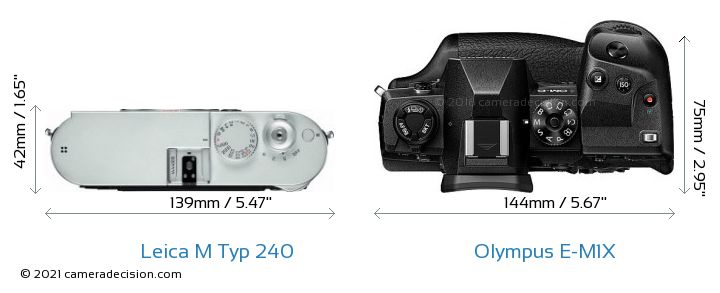 Leica M Typ 240 vs Olympus E-M1X Camera Size Comparison - Top View