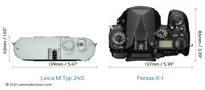 Leica M Typ 240 vs Pentax K-1 Camera Size Comparison - Top View