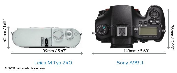 Leica M Typ 240 vs Sony A99 II Camera Size Comparison - Top View