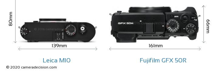 Leica M10 vs Fujifilm GFX 50R Camera Size Comparison - Top View
