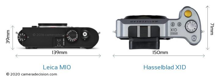 Leica M10 vs Hasselblad X1D Camera Size Comparison - Top View