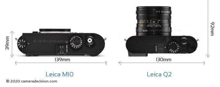 Leica M10 vs Leica Q2 Camera Size Comparison - Top View