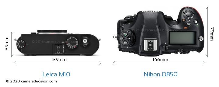 Leica M10 vs Nikon D850 Camera Size Comparison - Top View