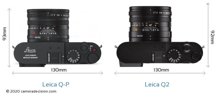 Leica Q-P vs Leica Q2 Camera Size Comparison - Top View