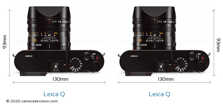 Leica Q vs Leica Q Camera Size Comparison - Top View