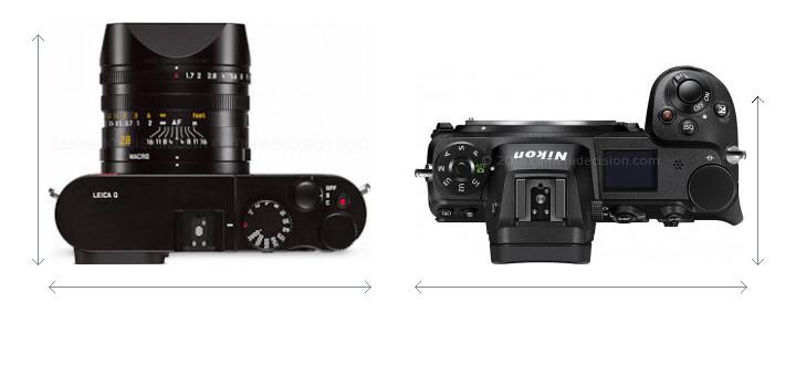 Leica Q vs Nikon Z6 Camera Size Comparison - Top View