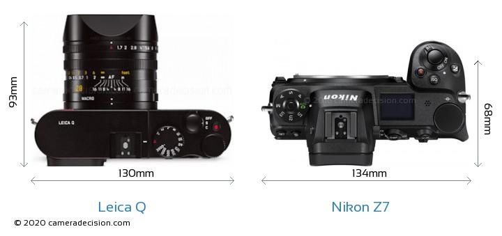 Leica Q vs Nikon Z7 Camera Size Comparison - Top View