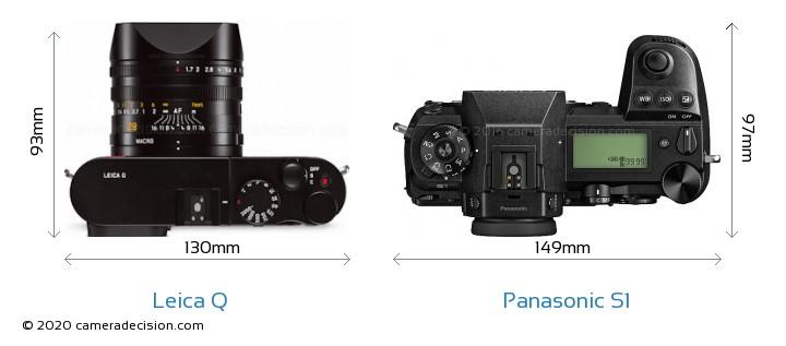 Leica Q vs Panasonic S1 Camera Size Comparison - Top View