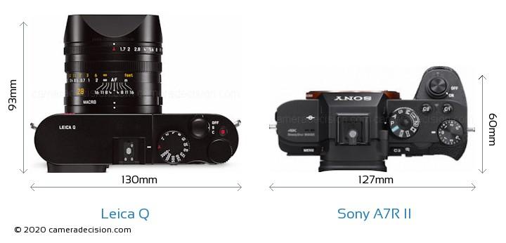 Leica Q vs Sony A7R II Camera Size Comparison - Top View