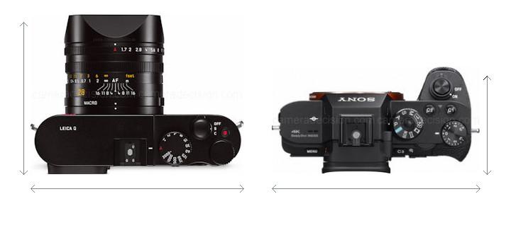 Leica Q vs Sony A7S II Camera Size Comparison - Top View