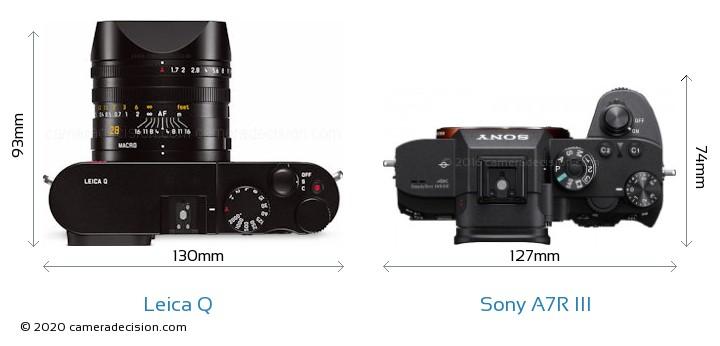 Leica Q vs Sony A7R III Camera Size Comparison - Top View