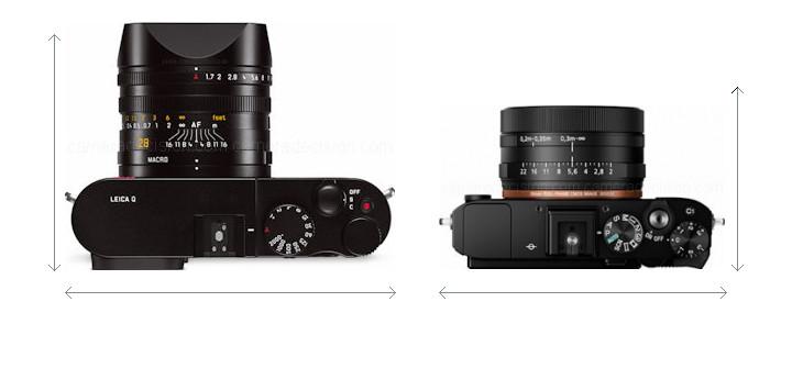 Leica Q vs Sony RX1R II Camera Size Comparison - Top View