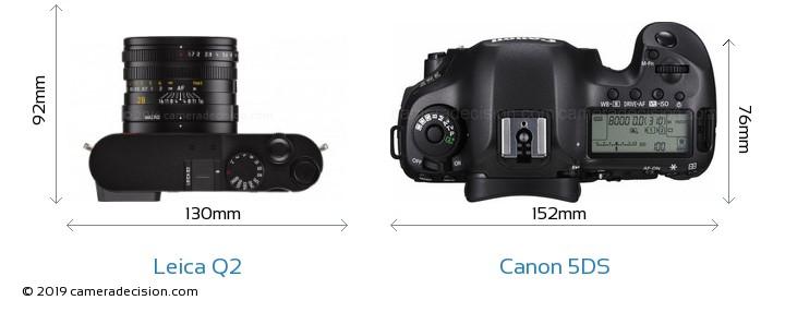 Leica Q2 vs Canon 5DS Camera Size Comparison - Top View