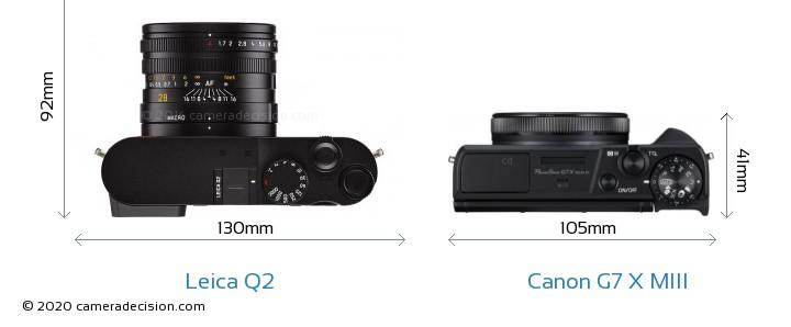 Leica Q2 vs Canon G7 X MIII Camera Size Comparison - Top View