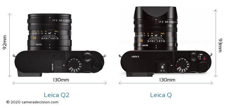 Leica Q2 vs Leica Q Camera Size Comparison - Top View