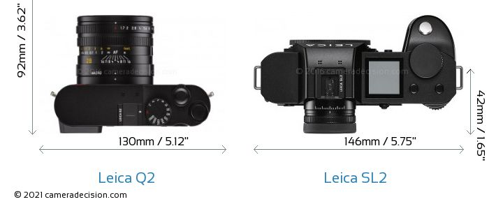 Leica Q2 vs Leica SL2 Camera Size Comparison - Top View