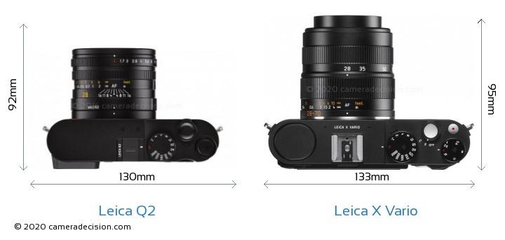 Leica Q2 vs Leica X Vario Camera Size Comparison - Top View