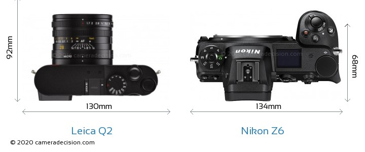 Leica Q2 vs Nikon Z6 Camera Size Comparison - Top View