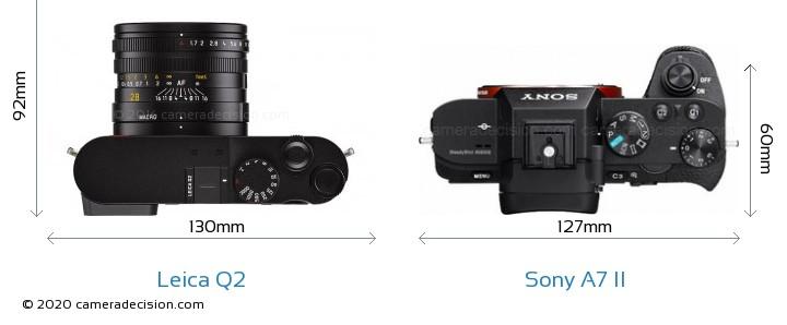 Leica Q2 vs Sony A7 II Camera Size Comparison - Top View