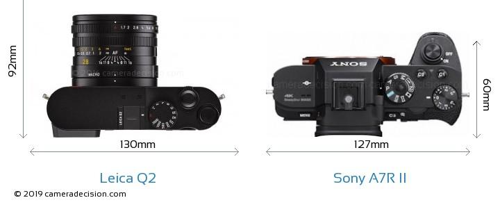 Leica Q2 vs Sony A7R II Camera Size Comparison - Top View