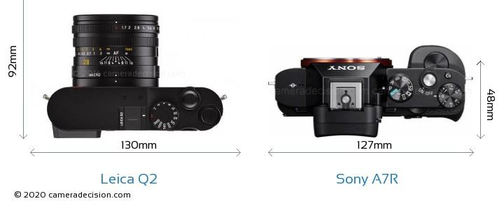 Leica Q2 vs Sony A7R Camera Size Comparison - Top View