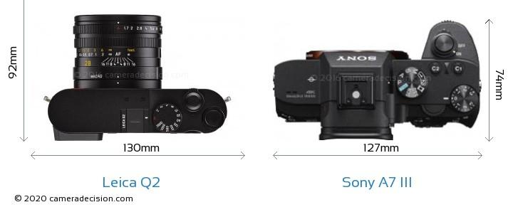 Leica Q2 vs Sony A7 III Camera Size Comparison - Top View