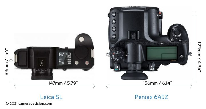 Leica SL vs Pentax 645Z Camera Size Comparison - Top View