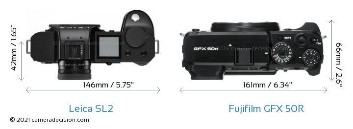 Leica SL2 vs Fujifilm GFX 50R Camera Size Comparison - Top View