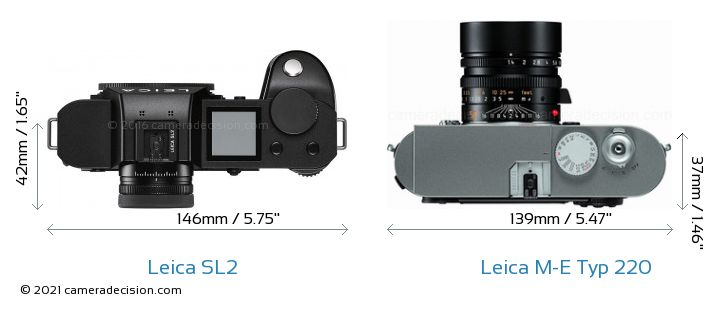Leica SL2 vs Leica M-E Typ 220 Camera Size Comparison - Top View