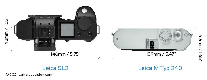 Leica SL2 vs Leica M Typ 240 Camera Size Comparison - Top View